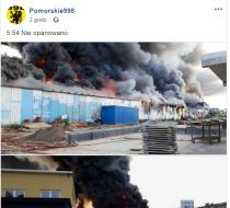 Trakt Św Wojciecha, pożar, płonie, www.polnocna.tv
